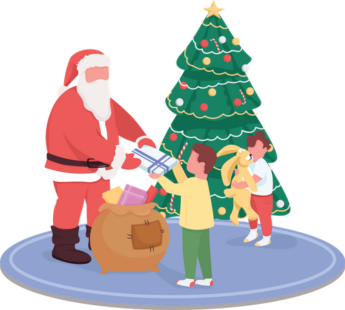 Santa Claus giving children presents Illustration