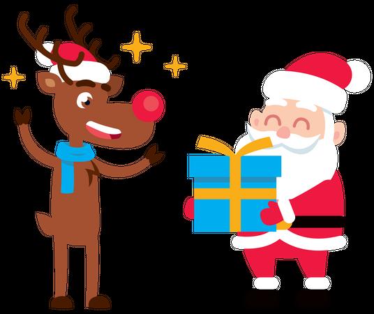 Santa Claus giving gift to reindeer Illustration