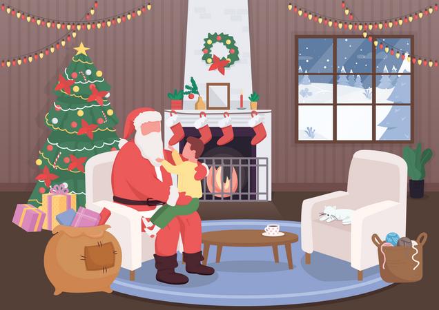 Santa Claus greet kid Illustration