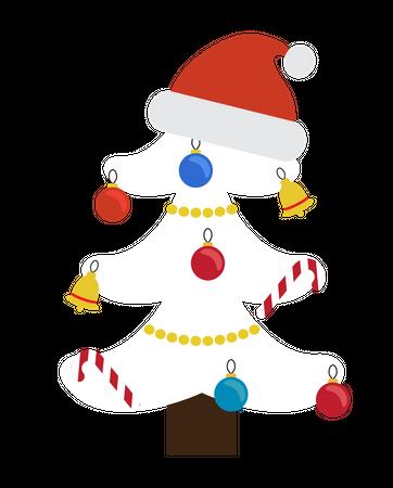 Santa Claus hat in the decorative Christmas tree Illustration