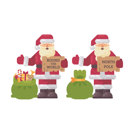 Santa Claus Hitchhiking On Christmas Night Illustration