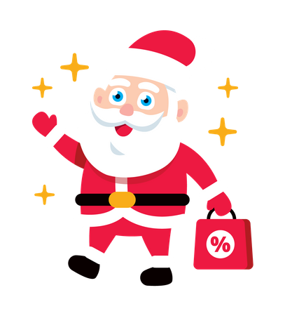 Santa Claus holding shopping discount or offer bag for Christmas Illustration