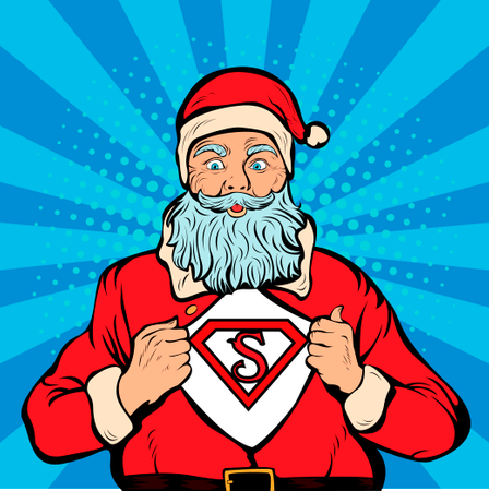 Santa Claus in red costume with open coat and place for logo or text Illustration
