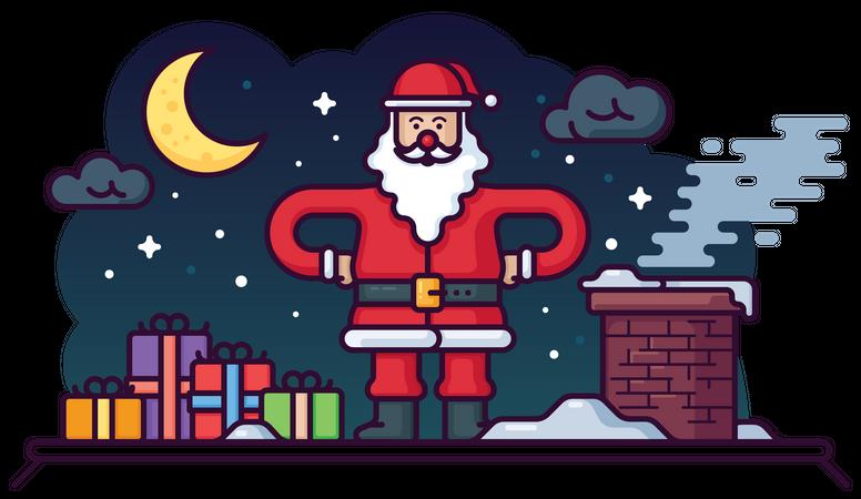 Santa Claus on house roof Illustration