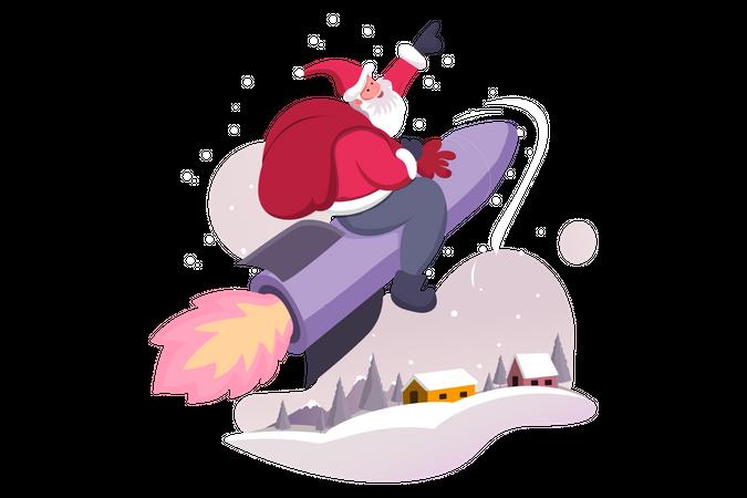Santa Claus on Rocket Illustration