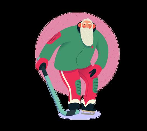 Santa Claus playing ice hockey Illustration