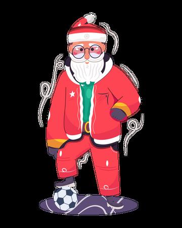 Santa Claus playing the football Illustration