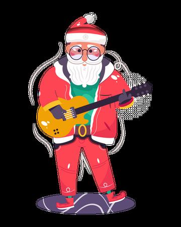 Santa Claus playing the guitar Illustration