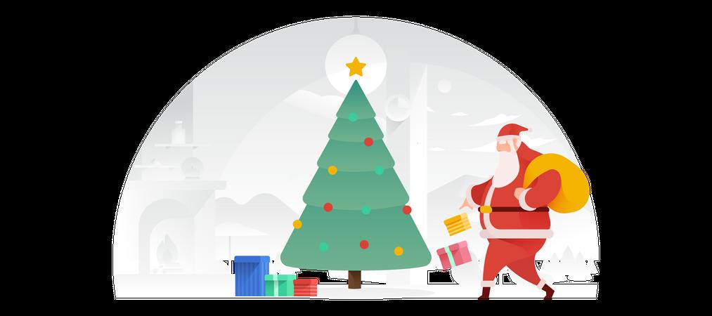 Santa Claus Putting Presents Under The Tree Illustration