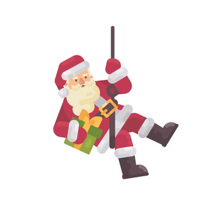 Santa Claus Rappelling With A Present In Hand Illustration