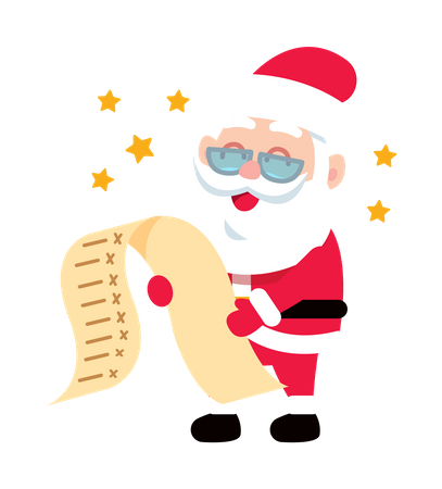 Santa Claus reading Wishlist Illustration