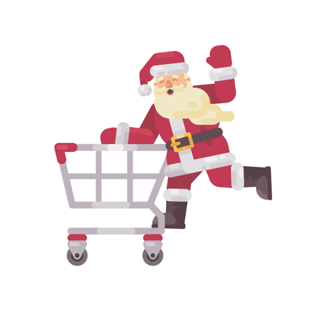 Santa Claus Riding A Shopping Cart. Happy Christmas Character Flat Illustration Illustration