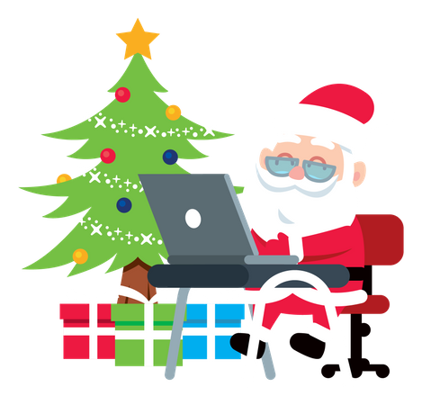Santa Claus sending online gifts on laptop Illustration