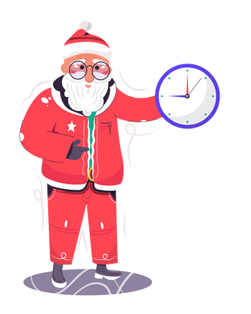 Santa Claus showing the Christmas starting time Illustration
