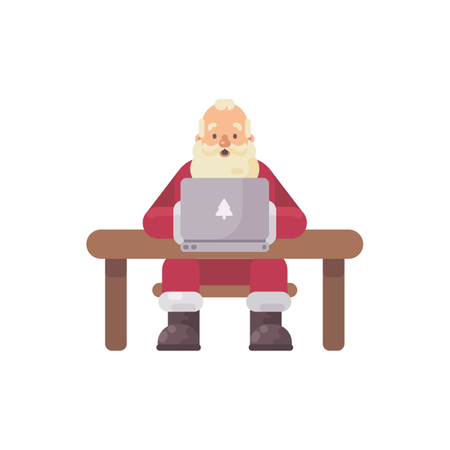 Santa Claus Sitting At His Desk Reading Mail On A Laptop Illustration