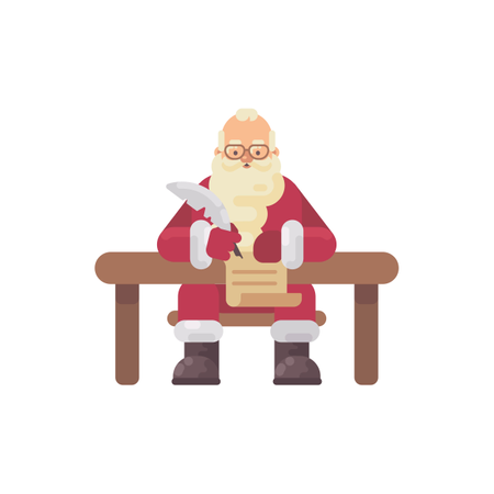 Santa Claus Sitting At His Desk Writing A Letter To A Kid. Christmas Character Flat Illustration Illustration