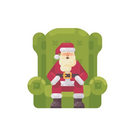 Santa Claus Sitting In A Big Green Armchair Illustration