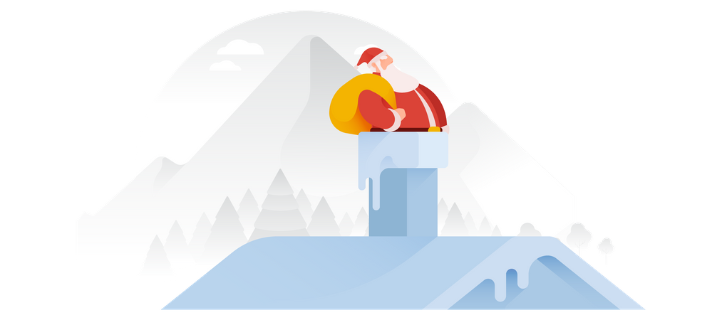 Santa Claus Sliding Down The Chimney Illustration