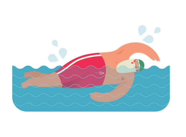 Santa Claus swimming Illustration