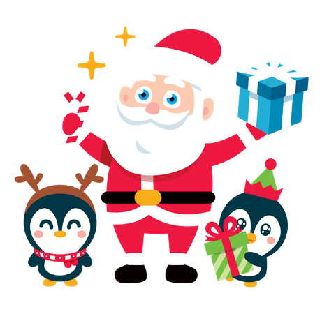 Santa Claus with baby Penguins and gifts Illustration