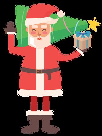 Santa Clause holding Christmas tree and Gift box Illustration