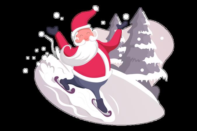 Santa Clause on Skate Illustration