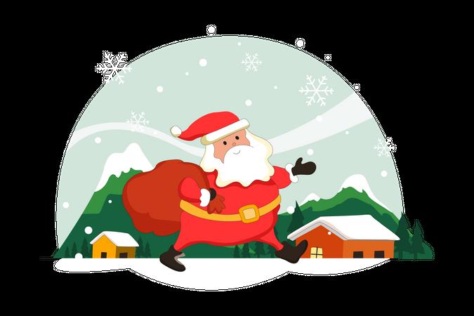 Santa Clause Visiting Home For Gift Distribution Illustration