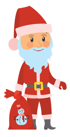 Santa Clause With bag of Snowman Illustration