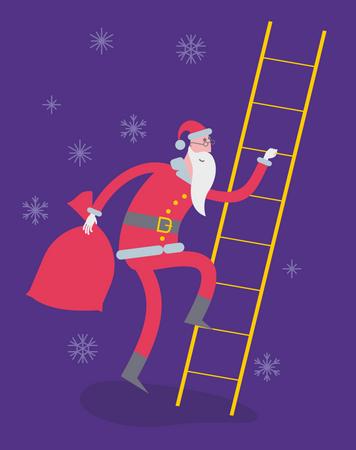 Santa Creeps Up The Stairs Illustration