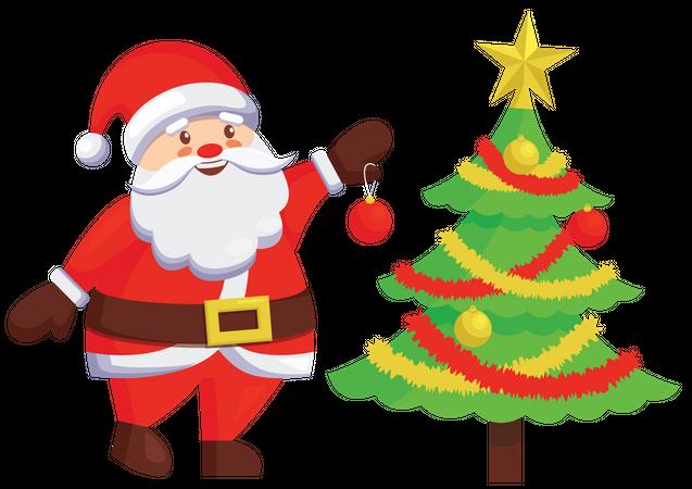 Santa decorating christmas tree Illustration
