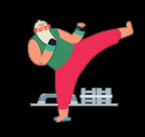 Santa doing kickboxing Illustration