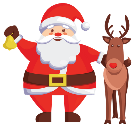 Santa holding bell while standing with reindeer Illustration