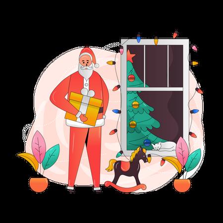 Santa holding Christmas Gift Illustration