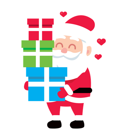 Santa holding giftboxes Illustration