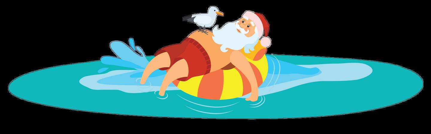 Santa lying on swim ring Illustration