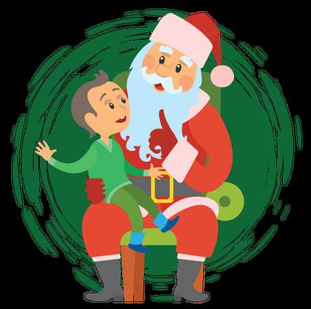 Santa pampering boy Illustration