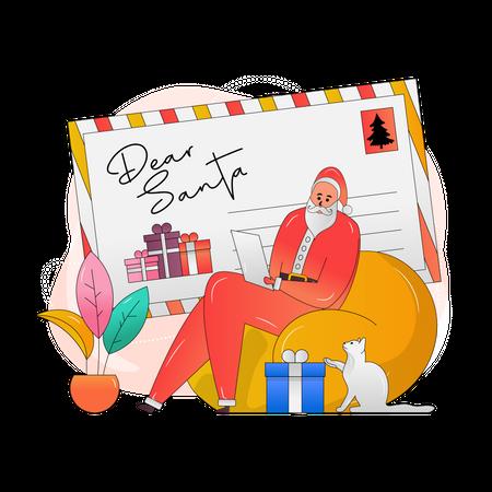 Santa Reading letters Illustration
