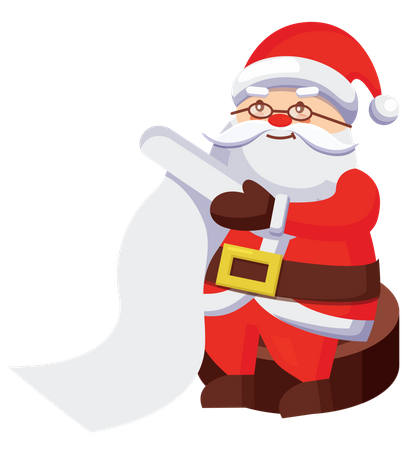 Santa reading list Illustration