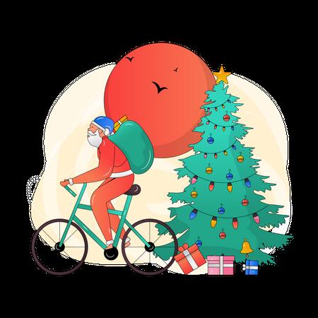 Santa riding bicycle Illustration