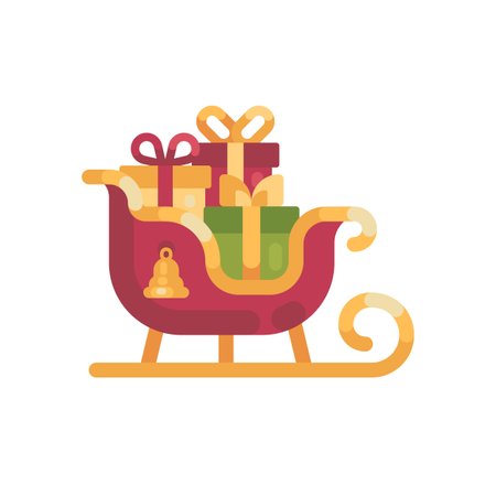 Santa's Sleigh With Presents Illustration