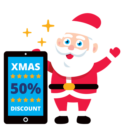 Santa showing x-mas online shopping discount on mobile screen Illustration