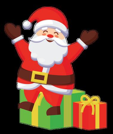 Santa sitting on gifts Illustration