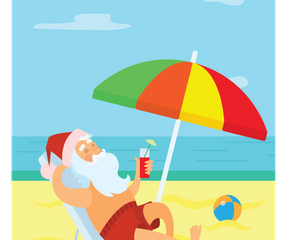 Santa On Vacation Illustration Pack