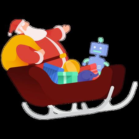 Santa Sleigh Illustration