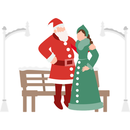 Santa standing with a girl Illustration