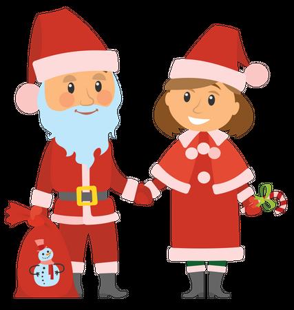 Santa standing with girl Illustration