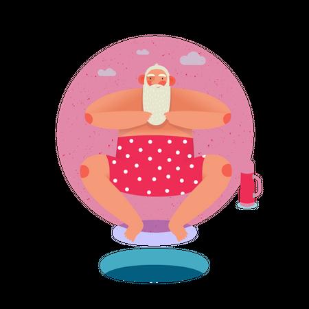 Santa wearing swimsuit Illustration