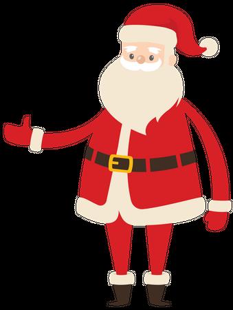 Santa widening his arm Illustration