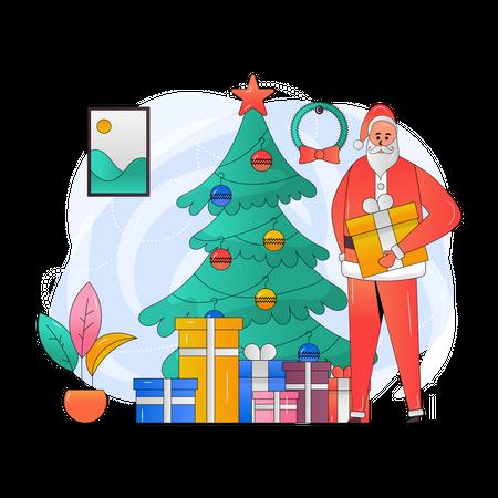 Santa with christmas gifts Illustration