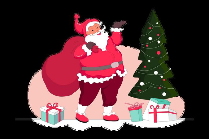 Santa With Christmas Tree Illustration